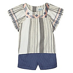 Mantaray - Girls' white woven top and shorts set