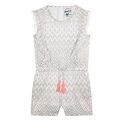 Mantaray - Girls' cream Ikat print playsuit