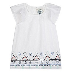 Mantaray - Girls' off white tassle border hem top