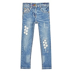 Mantaray - Girls' light blue floral crochet jeans