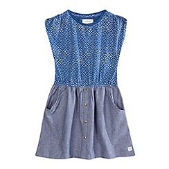 Mantaray - Girls' blue mock chambray dress