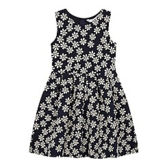 J by Jasper Conran - Girls' navy daisy textured dress