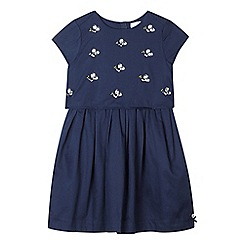 J by Jasper Conran - Girls' navy bee embellished layered dress