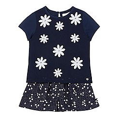 J by Jasper Conran - Girls' navy daisy applique top and culottes set