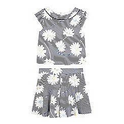 J by Jasper Conran - Girls' navy striped floral print top and skirt set