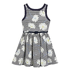 J by Jasper Conran - Girls' navy daisy print striped dress