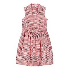 J by Jasper Conran - Girls' red dot and striped print shirt dress