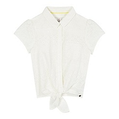 J by Jasper Conran - Girls' white floral lace tie shirt