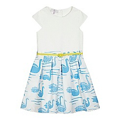 J by Jasper Conran - Girls' white swan print moackable dress