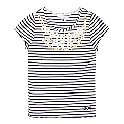 J by Jasper Conran - Girls  navy striped floral t-shirt