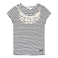 J by Jasper Conran - Girls  navy striped floral t-shirt