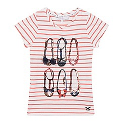 J by Jasper Conran - Girls' pink striped print sequinned shoes t-shirt