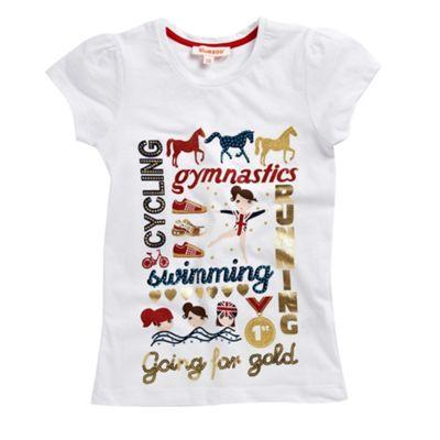 Girls white Going For Gold t-shirt