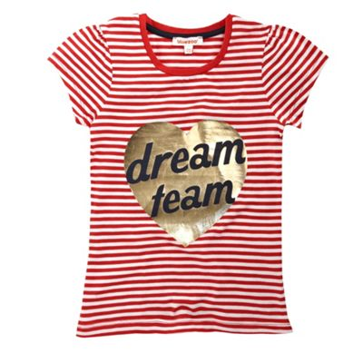 bluezoo Girls red striped Dream team t-shirt product image