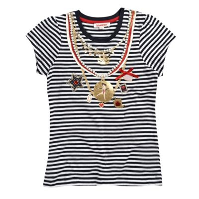 bluezoo Girls navy striped necklace print t-shirt product image