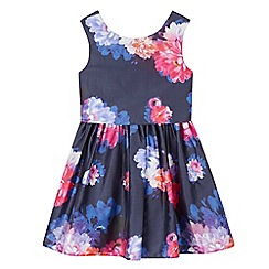 RJR.John Rocha - Girls' navy floral layered waist dress