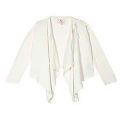 RJR.John Rocha - Girls' cream flower applique waterfall cardigan