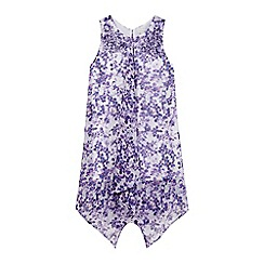 RJR.John Rocha - Girls' purple pansy print hanky hem dress