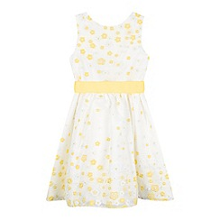 RJR.John Rocha - Girls' yellow daisy applique organza dress