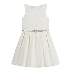 RJR.John Rocha - Girls' ivory textured floral belted dress