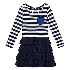 bluezoo - Girls' navy striped rara dress