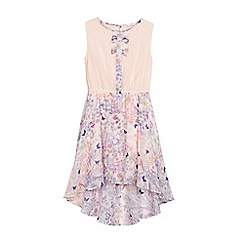 bluezoo - Girls' pink floral bow applique dress