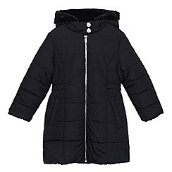 bluezoo - Girls' navy padded shower resistant hooded coat