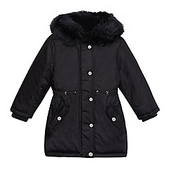 bluezoo - Girls' navy faux fur trim hood padded parka coat