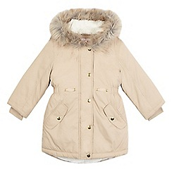 bluezoo - Girls' light tan faux fur lined coat