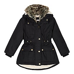 bluezoo - Girls' black shower resistant parka jacket