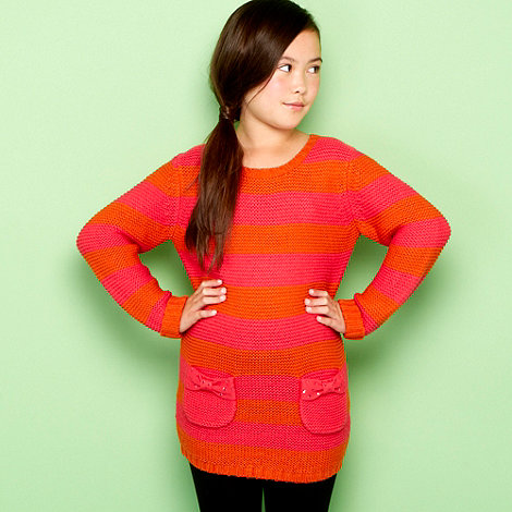 bluezoo - Girl+s pink striped chunky knitted tunic