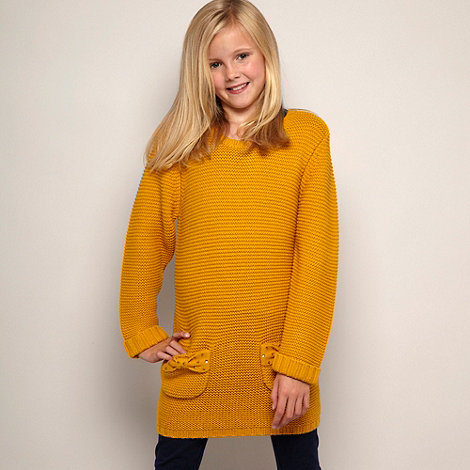 bluezoo - Girl+s mustard chunky knitted tunic