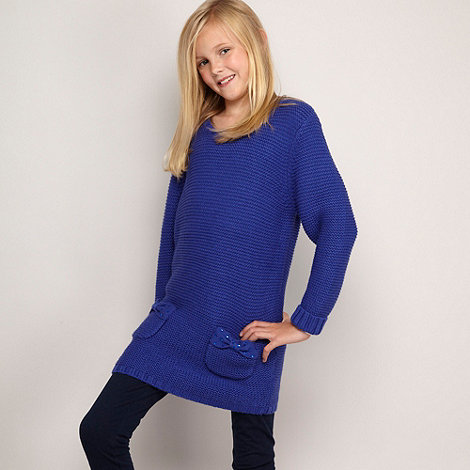 bluezoo - Girl+s blue chunky knitted tunic