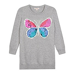 bluezoo - Girls' grey sequin butterfly jumper