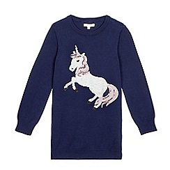bluezoo - Girls' navy sequinned unicorn jumper