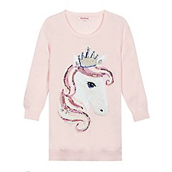 bluezoo - Girls' pink sequin horse jumper