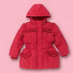 bluezoo - Girl's red padded ruffle trim coat