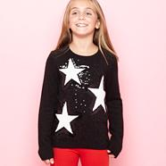 Girl's black star knitted jumper