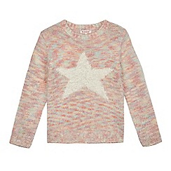 bluezoo - Girls' multicoloured fluffy textured star jumper