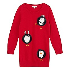 bluezoo - Girls' red penguin Christmas jumper