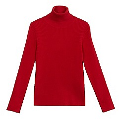 bluezoo - Girls' red ribbed turtle neck jumper