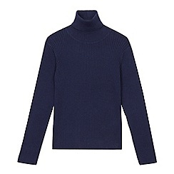bluezoo - Girls' navy roll neck jumper