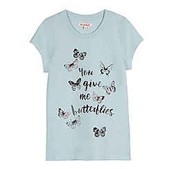 bluezoo - Girls' light turquoise butterfly print t-shirt