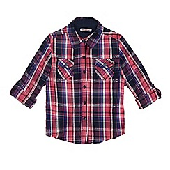 bluezoo - Girls' pink and purple checked print shirt