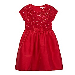 bluezoo - Girls' red sequinned bow applique dress