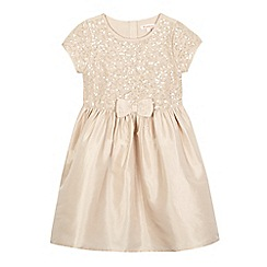 bluezoo - Girls' beige sequinned bow applique dress
