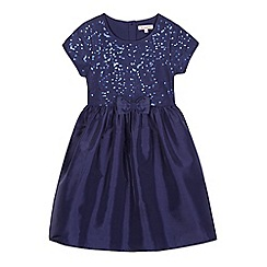 bluezoo - Girls' navy sequinned bow applique dress