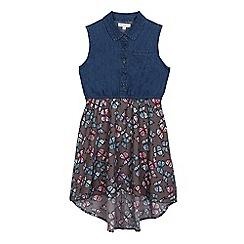 bluezoo - Girls' blue butterfly print denim dress