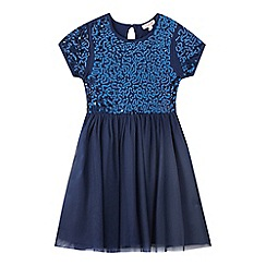 bluezoo - Girls' navy sequin embellished dress