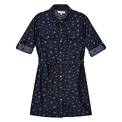 bluezoo - Girls' navy denim star print shirt dress